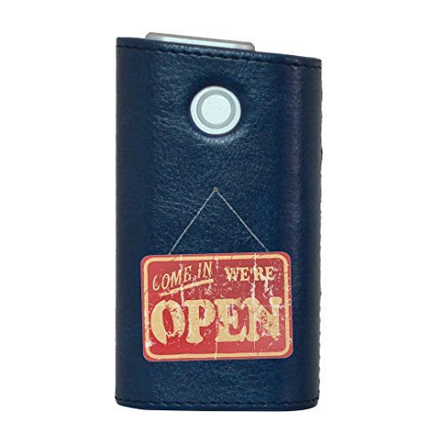 glo グロー グロウ 専用 レザーケース レザーカバー タバコ ケース カバー 合皮 ハードケース カバー 収納 デザイン 革 皮 BLUE ブルー 英語 ヴィンテージ 赤 009181