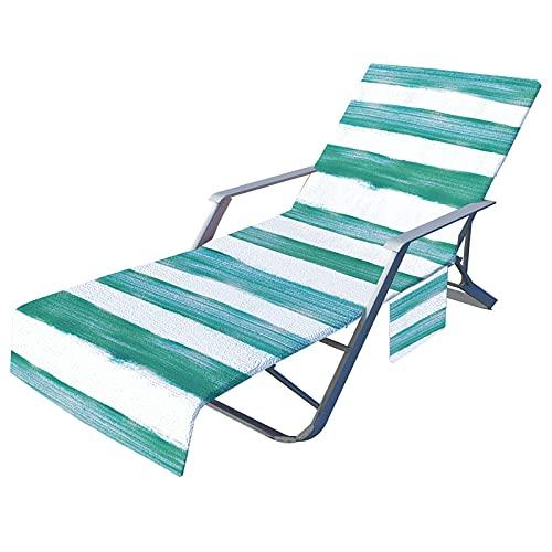 Junenoma Strandstoelhoes, zachte microvezel chaise lounge-handdoek afdekking terras zwembad stoelen afdekking met zijzakken, 20 x 29 cm stoelhoes C