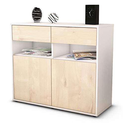 Stil.Zeit Sideboard Bruna/Korpus Weiss matt/Front Holz-Design Zeder (92x79x35cm) Push-to-Open Technik & Leichtlaufschienen