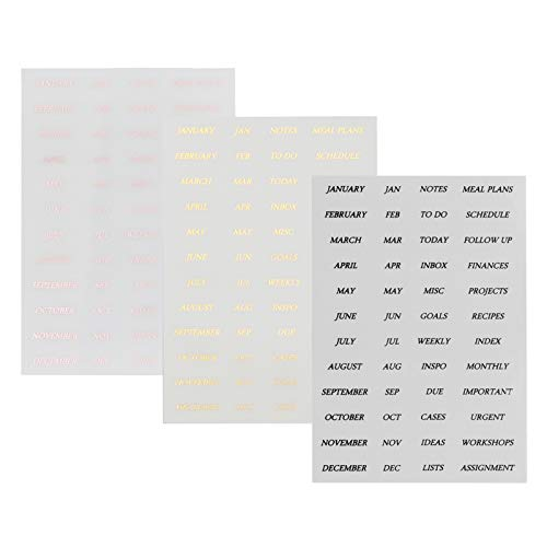 Planner Date Stickers Adhesive Tabs Monthly Index Tab 3 Pcs PET Sticker Adhesive Index for Decorating, Planning, Scrapbooking