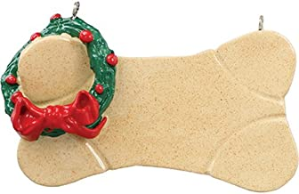 Personalized Brown Dog Bone Christmas Tree Ornament 2019 - Natural Green Wreath Pet Good Puppy Doggy Breed Neutral Faithful Furever Fluffy Holiday Aww Best - Free Customization