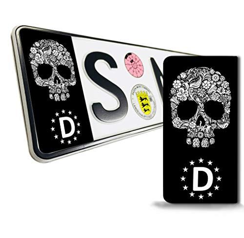 SkinoEu® 2 x Vinyl Aufkleber Nummernschild Kennzeichen JDM Tuning Auto Motorrad Skull Schädel Totenkopf Stickers EU QV 21