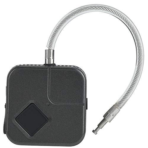 Candado de Cuerda de Alambre, candado de Huellas Dactilares, Carga USB para escuelas, oficinas, fábricas, almacenes(Black)
