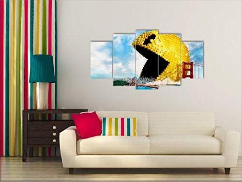 WANGZHONG 5 Piezas De Arte Marco Cuadros Decoracion Pacman, Pixels - Juegos Salon Moderno HD sobre Lienzos Impresión Cuadro Usado para Sala Oficina Hogar Decoracion De Pared
