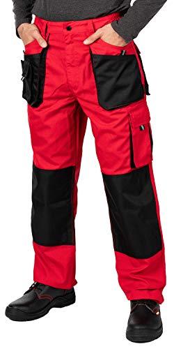 Pantalon de Travail Homme, avec des Poches Genouillere. Pantalon Travail Homme, Vetement Travail, Multi Poches, Grande Taille S - XXXL, Vetement Homme, Rouge, Haute qualité 54