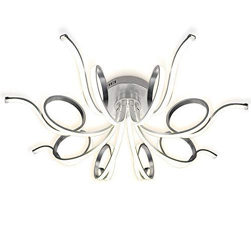 Dimmbar XXL LED Deckenlampe Deckenleuchte Kronleuchter Wohnzimmer Warmweiß Design Lüster Spirale Form 8 Arme Modern 81cm Lewima Inflexum