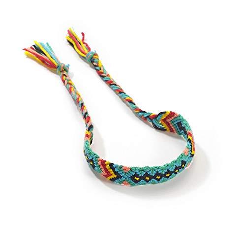 Pulsera Pulsera Hecha a Mano Retro Multicolor Cuerda Trenzada Hippie Pulsera de la Amistad Entre Hombres y Mujeres (Color : 2)