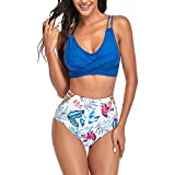 EDOTON Damen Bikini Sets V Ausschnitt Crossover Ties-up Neckholder Push Up Verstellbar Bikinioberteil + Hoch Taillie Blumenmuster Seitlich Gebunden Bikinihosen Zweiteiliger Badeanzug (A Blau, XXL)