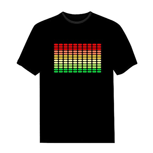 Lixada LED T-Shirt Sprachaktivierter Blitz für Party Rock Disco Night Club für Mann und Frau