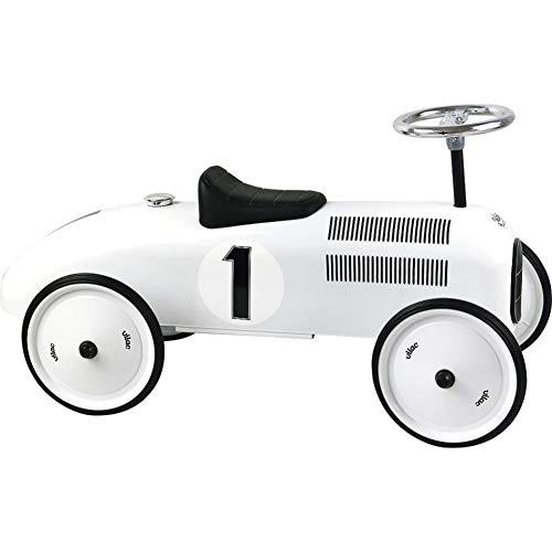 Vilac Vintage Ride On Car Metal Speedster 30quot Long  Polar White