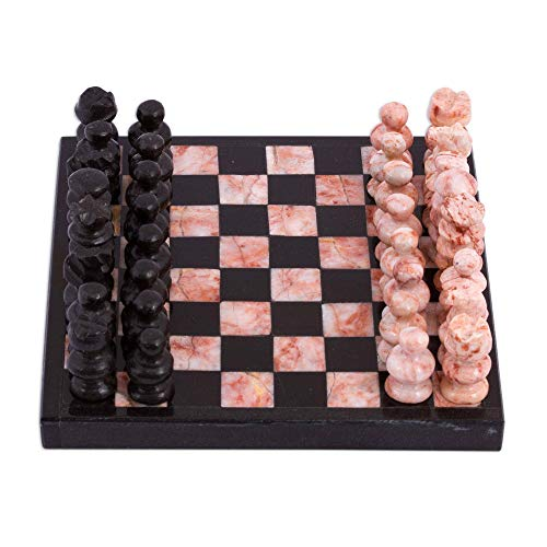 NOVICA Black and Pink Challenge (5 in.) Marble Mini Chess Set