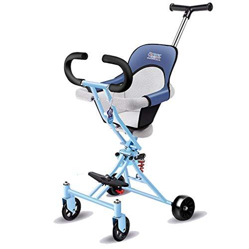 CAIMEI Artefacto de carrito para niños, 4 rondas de artefacto plegable, ligero, de 1 a 3 a 6 años de edad, para ir de compras y caminar (color: azul), azul2