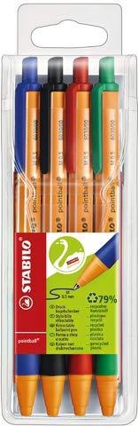 STABILO® Kugelschreiber, pointball, Druckmechanik, M, 0,5 mm, Schreibfarbe: 4er sortiert (4 Stück), Sie erhalten 1 Etui á 4 Stück