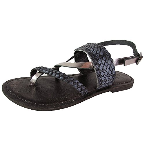 Freebird by Steven Womens Sea Braided Leather Sandal Shoes, Black Multi, US 6
