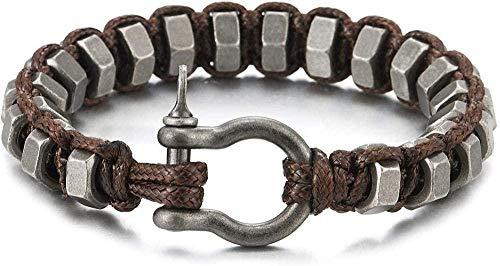huangshuhua Acero Antiguo Metal Hexagonal Acabado Cabezas de Tornillo torcidas Cuerda de algodón marrón Pulsera Tornillo Grillete de Ancla