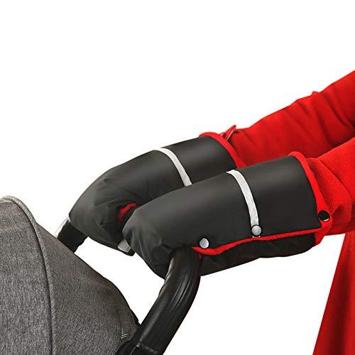 LEZED Guantes de Carrito de Bebé de Invierno Guantes de Silla de Paseo Impermeables y Anticongelante Muff para manos con Rayas Reflectantes para la mayoría de los cochecitos y carritos