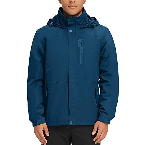 Men's Waterproof Rain Jacket with Hooded Breathable Windbreaker for Outdoor Hiking Climbing