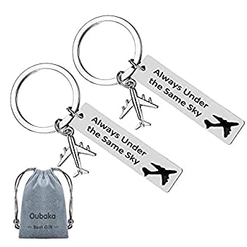 Long Distance Relationship Gifts,Couples keychains Good Friend Keychain Jewelry Gifts Always Under the Same Sky Key Chain Gift for Her Him Husband Wife Boyfriend Girlfriend