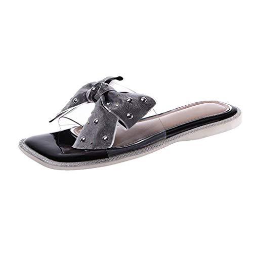 WXYPP - Sandalias para mujer con arco, para verano e interior y exterior plano, apertura en el suelo, pvc, negro, 38