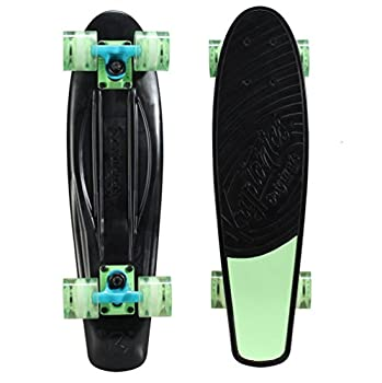 Kryptonics Original Torpedo 22.5  Complete Kids Poly Cruiser Skateboard Black/Green