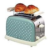 WSAND Máquina for hacer pan: tostadora de 2 rebanadas, tostadora pequeña retro, función de descongelación, tostadoras de acero inoxidable compactas con ranura extra ancha for gofres de pan, azul