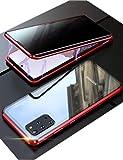 KumKum Galaxy S20 Plus Coque Avant et arrière Verre Trempé Case Anti-Espion et Vie Privée Protection de 360 Degrés Magnétique Intégrale Metal Cadre Antichoc Étui pour Samsung S20+, Rouge