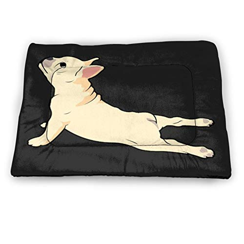French Bulldog Yoga Cat Pet Dog Bed Mat, Comfortable Nap, Sleeping and Crate Mat for Cats Dog Cat Bed Mat Soft Crate Mat with Anti-Slip Bottom Machine Washable Pet Mattress for Dog Cat Sleeping