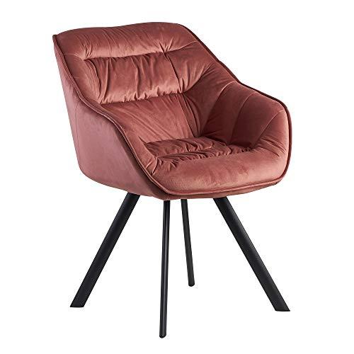 FineBuy Sedia per Sala da Pranzo Rosa Velluto e Metallo Moderne   Design Sedia da Cucina Imbottito   Sala da Pranzo Tessuto Poltroncina con Braccioli