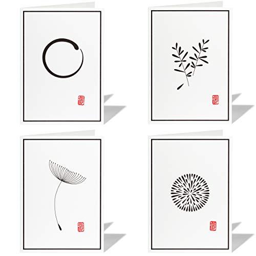 4er Set Trauerkarten mit Umschlag, moderne Beileidskarten, hochwertige Kondolenzkarten - Stempel (71.7)