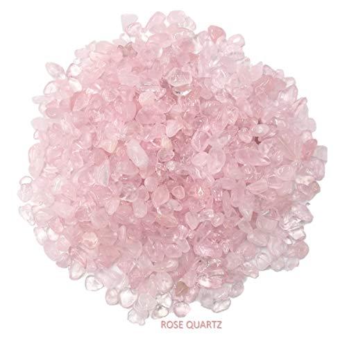 CoolZest Decorative Small Rose Quartz Crystal Stones for Zen Sand Garden, Mini Fountain, Vase Filler, Succulent, Bonsai Tree, Air Plant Terrarium, Lucky Bamboo Plant (1.2 Pound/Box)