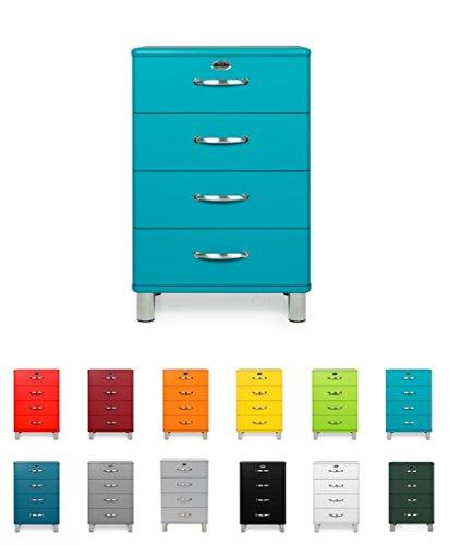 Tenzo Malibu Designer Commode 4 tiroirs, Panneaux de Particules & MDF, Bleu océan, 60 x 41 x 92 cm