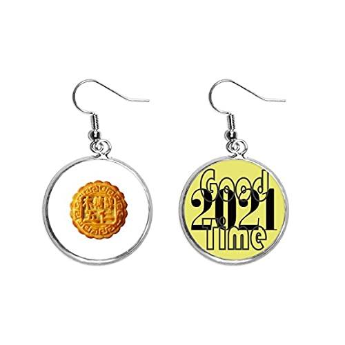 Mondkuchen-Ohrringe mit 5 Kernen, Mondkuchen-Anhänger, Schmuck 2021 Viel Glück