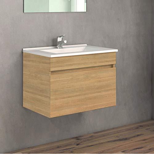 VAROBATH Conjunto de Mueble de baño suspendido de 1 Cajon con Lavabo de Ceramica, y Espejo Liso - Modelo SOKI (60 cms, Hera)