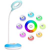 Lámpara de escritorio táctil By Mafiti. Lámpara de mesa LED regulable en intensidad y cuello de cisne flexible. Protección LED para los ojos. Base multicolor ambiental. 4W. Blanco