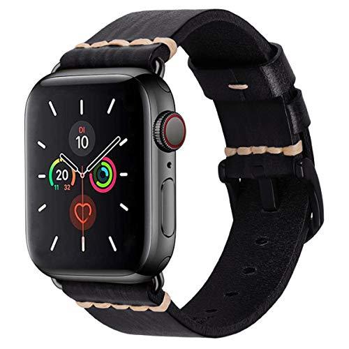 MroTech 44mm 42mm Leren armband vervanging voor 44 mm iWatch Armband Series 5/4 42 mm Series 3/2/1 Reserveband Horlogeband Bands Armbanden echt Leder Watchband Heren Horloge Bracelets-Zwart 44mm/42mm
