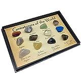 Berrywho 12Pcs / Set de Piedras Preciosas del Mundo Minerales de muestras de Roca Natural Pulido deslumbrantes Piedras de Regalo de la Escuela geológica Educación Decoración para el Hogar Niños