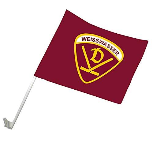 SPORTSMA Dynamo Weißwasser Autoflagge Fahne mit Halterung 40x30cm Eishockey Fanartikel