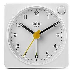 Braun Classic Travel Analogue Alarm Clock with Snooze and Light, Compact Size, Quiet Quartz Movement, Crescendo Beep Alarm in White, Model BC02XW.
