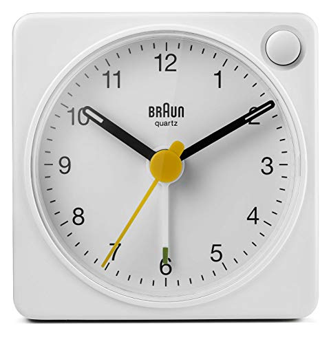 Braun Classic Travel Analogue Clock with Snooze and Light, Compact Size, Quiet Quartz Movement, Crescendo Beep Alarm in White, Model BC02XW, One