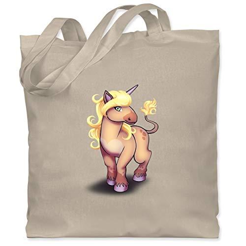 Shirtracer Tiermotive Kind - Einhorn Pony - Unisize - Naturweiß - Geschenk - WM101 - Stoffbeutel aus Baumwolle Jutebeutel lange Henkel