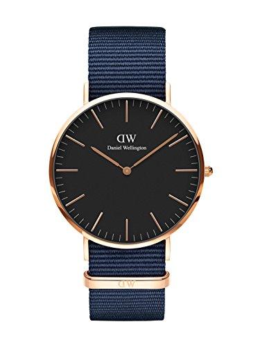 Daniel Wellington Classic Bayswater, reloj azul / oro rosa, 40 mm, OTAN, para hombre