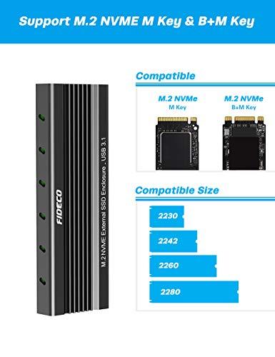 FIDECO M.2 NVME Externes SSD Gehäuse, PCIe USB 3.1, 10Gbps, Gen2 Festplattengehäuse Adapter, USB C-Festplatten-Caddy/Gehäuse für M.2 NVME SSD 2230/2242/2260/2280, UASP-Unterstützung