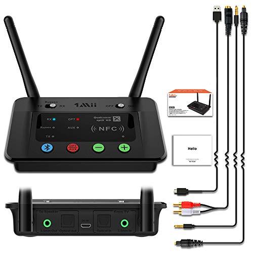 1mii Transmisor Receptor Bluetooth Audio, Bypass 3 en 1 con Jack Aux Óptico RCA, AptX de Baja Latencia &Hi-Fi, Emisor Bluetooth para TV/PC Doble Enlace a 2 Auriculares, Adaptador Bluetooth a Altavoz