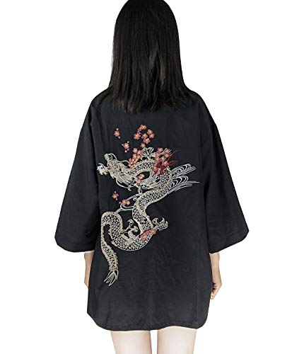 LAI MENG Damen Lose Kimono mit Drache Stickerei 3/4 Arm Cover up Leichte Jacke EU 34-48