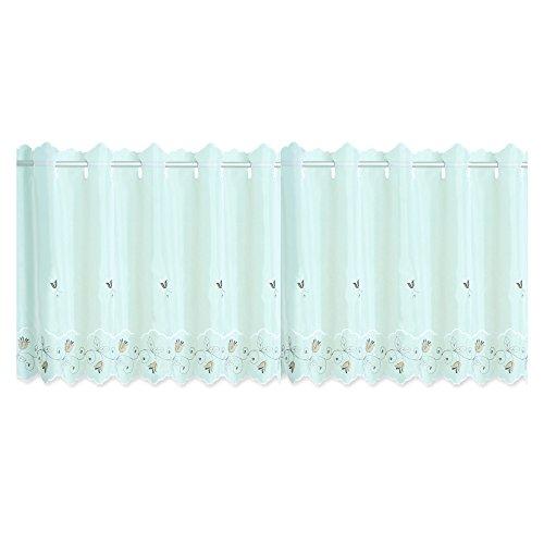 Bistrogardine Leonie ca. 155x45 cm Cafehaus Gardine weiß transparent Voile Fenstergardine Vorhang Bestickt #1295 (Tuple)