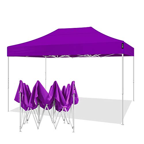 AMERICAN PHOENIX 10x15 Pop up Tent Instant Canopy Commercial Outdoor Party Canopy Shelter (10x15FT (White Frame), Purple)