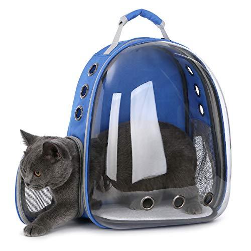 DoubleBlack Portador de Mascotas Mochila Transparente Perros y Gatos Portátiles Bolsa de Transporte al Aire Libre Diseño de Cápsula Transpirable Visitas Guiadas de 180 Grados - Azul