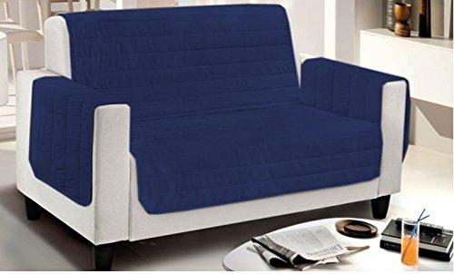 Smartsupershop Fauteuil matelassé Bicolore – Bleu/Bleu Clair – Mesure cm. 65 (de accoudoir à accoudoir) – Microfibre – Produit fabriqué en Italie