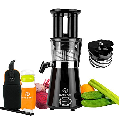 NUTRILOVERS Slow Juicer Entsafter - BPA-frei | Elektrische Obst & Gemüse Saftpresse | BPA-Frei | Geringe Drehzahl nur 60 U/min - 350 Watt | Glas-Trinkflasche, Rezepte & Reinigungsbürste