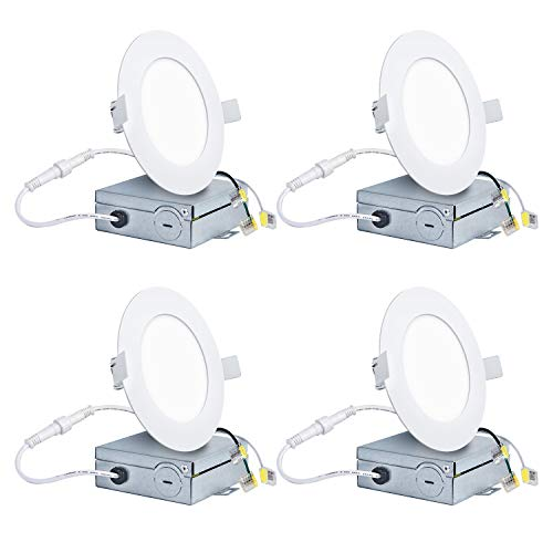 Hykolity 12W 4 Inch LED Slim Recessed Ceiling Light, 720lm, CRI90, 4000K Neutral White, Low Profile Downlight with Junction Box Dimmable, ETL& Energy Star Listed 4 Pack